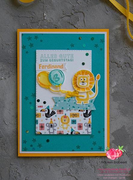 Bonanza Buddies Loewe Junge Stampin' Up! Karte Card
