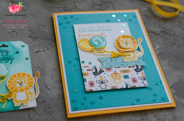 Bonanza Buddies Loewe Junge Stampin' Up! Lion Birthday Boy Balloons