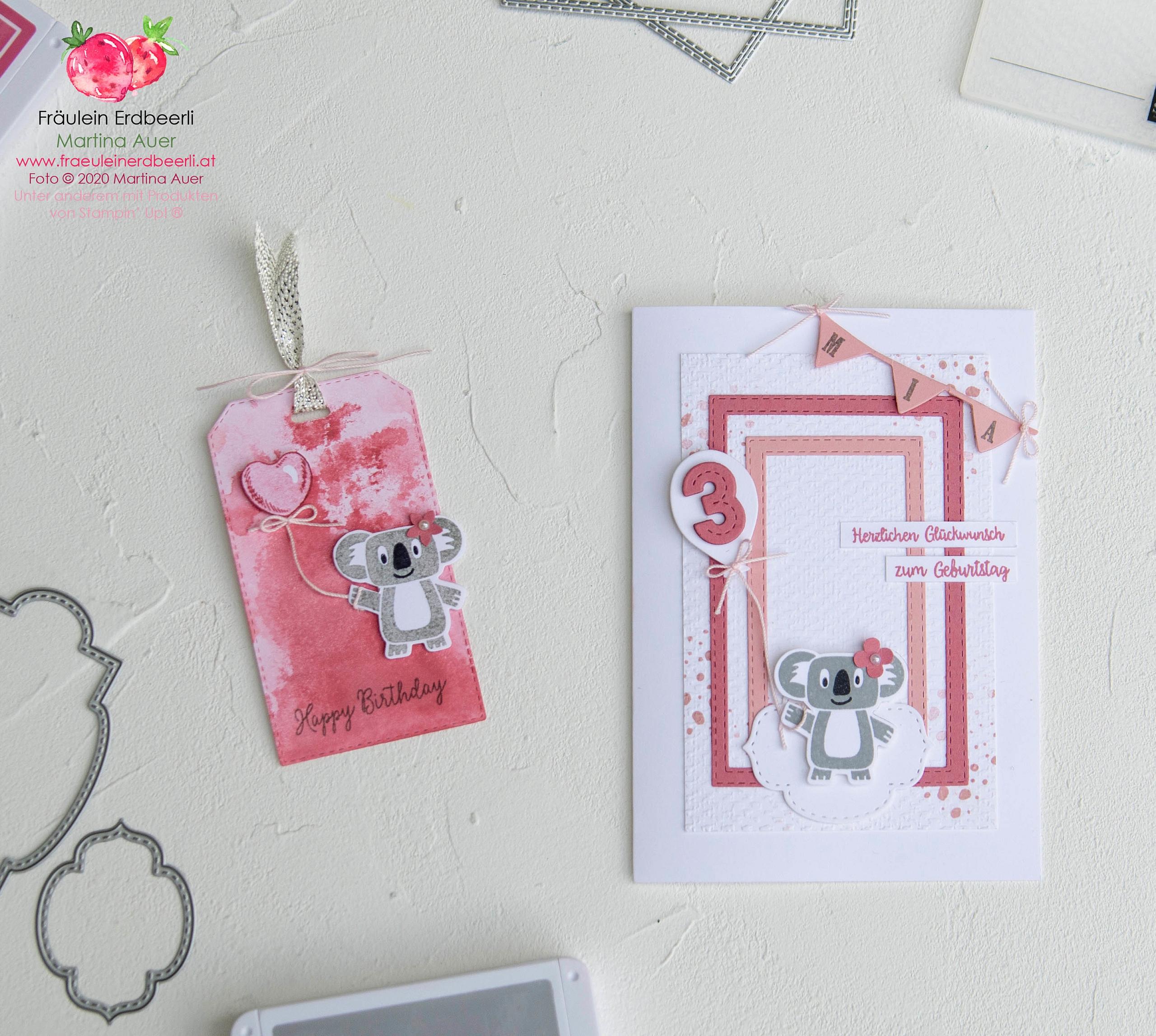 Bonanza Buddies Koala Maedchen Stampin' Up! Anhaenger Tag Karte Card Geburtstag Birthday