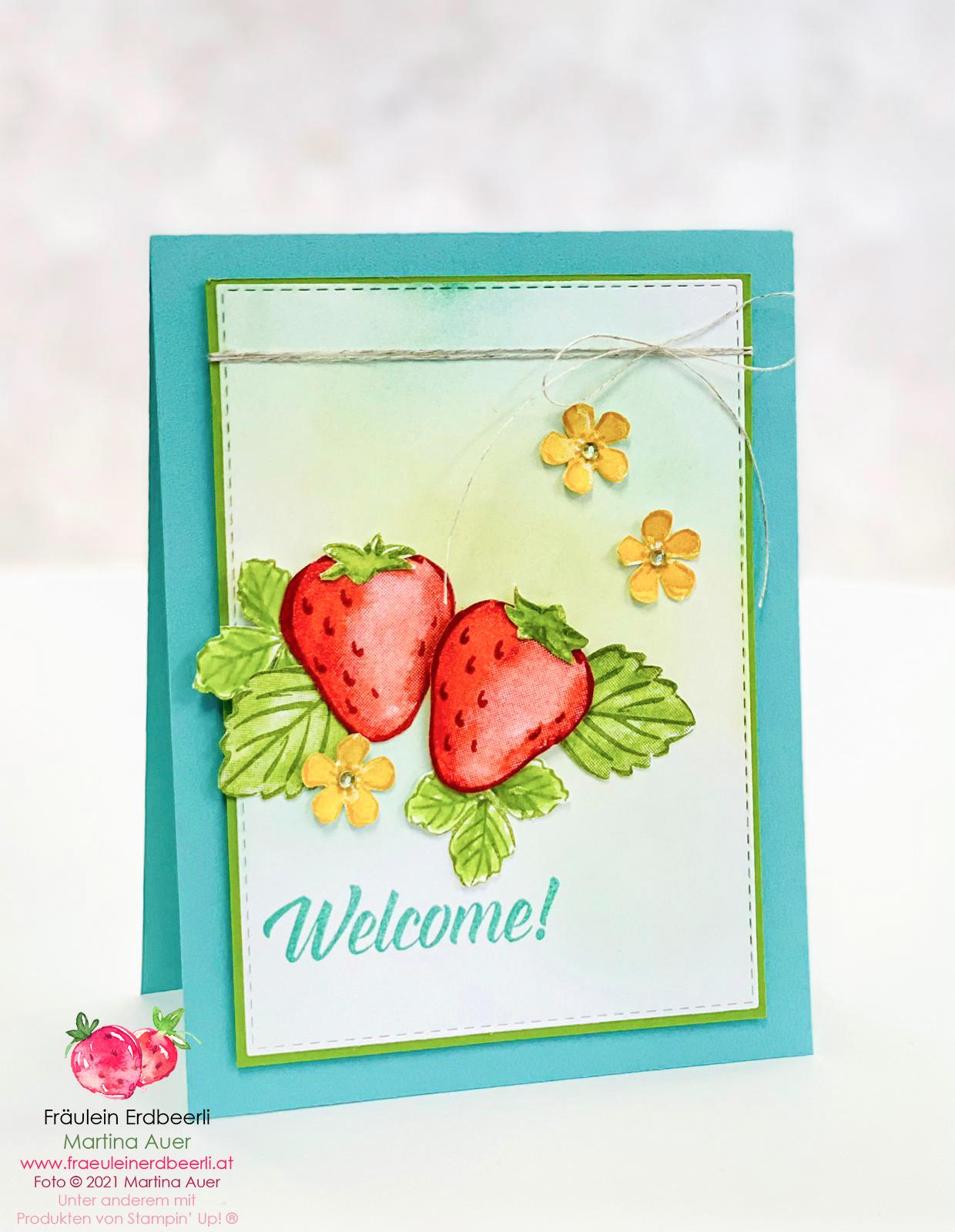 Erdbeerige Willkommenskarte mit Stampin' Up!