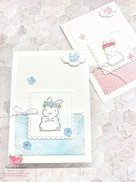 Babyboy Babygirl Häschen Karte Willkommen Baby